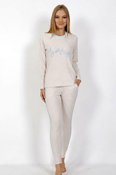 Kadın Ekru Örme Uzun Kol Pijama Takım