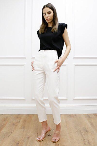 Kadın Beyaz  Önü Flatolu Pantalon