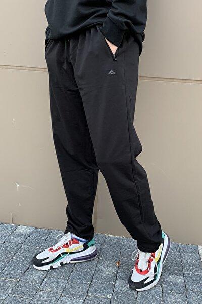 Erkek Siyah Paçası Düz Beli Lastikli 3 Cepli Eşofman Altı
