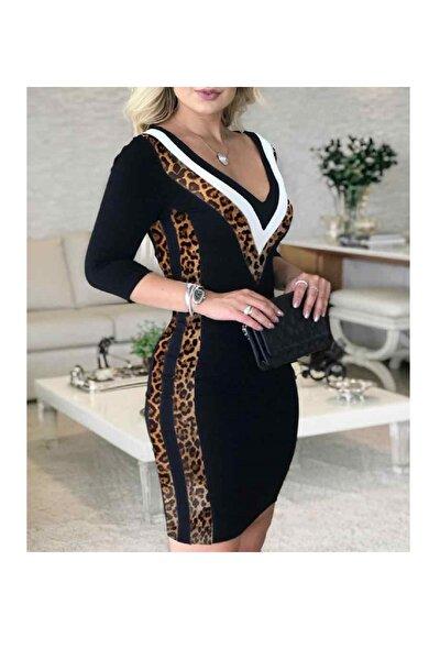 Kadın Siyah Leopar Garnili Elbise