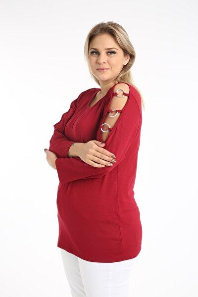 Kadın Bordo Halkalı Yarım Kol  Büyük Beden Bluz