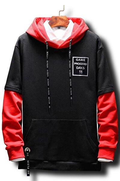 Unisex Siyah Kırmızı Oversize Kapüşonlu Pamuk Sweatshirt