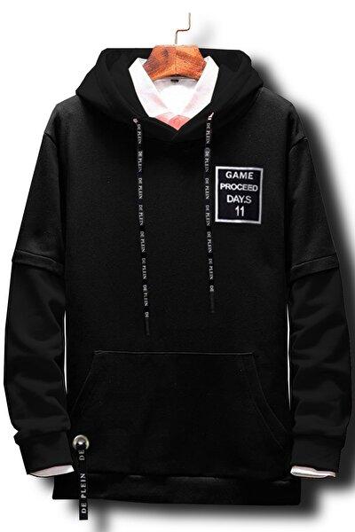 Unisex Siyah Oversize Kapüşonlu % 100 Pamuk Sweatshirt