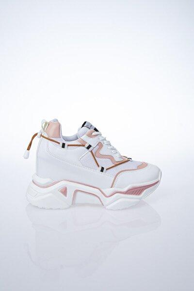 PC-30192 Beyaz-Pudra Kadın Spor Ayakkabı