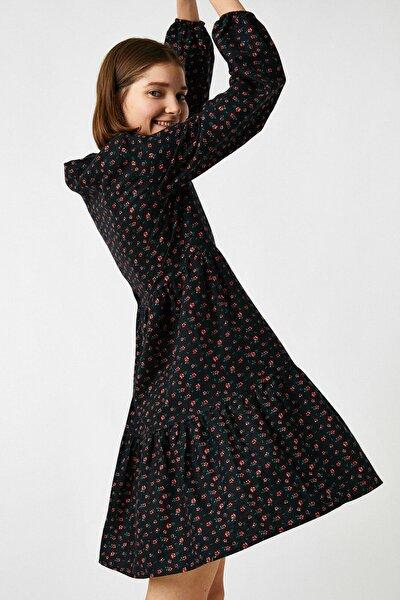 Kadın Siyah %100 Pamuk Uzun Kollu Çiçekli Elbise 1KAL88078IW