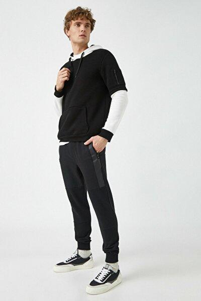 Erkek Siyah Cepli Normal Bel Esofman Alti 1KAM44018OK