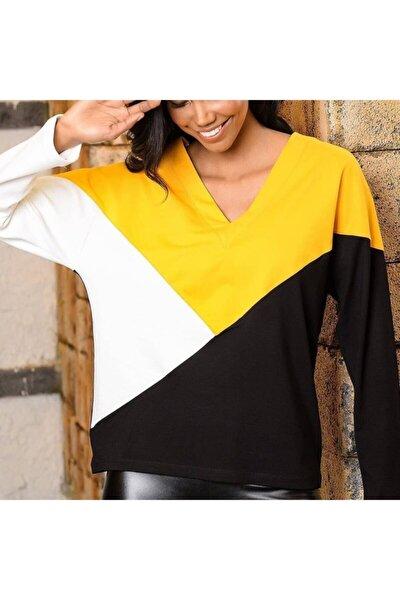 Kadın Siyah Parça Detay 3 Renk Bluz