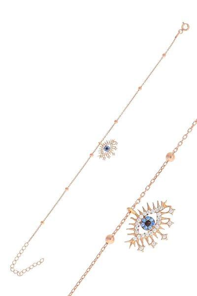 Gümüş Rose Top Top Zincirli Lareyn Bileklik