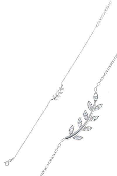 Gümüş Rodyumlu Zirkon Taşlı Yaprak Bileklik