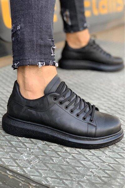 Erkek Siyah Kamuflaj Yüksek Taban Günlük Ayakkabı 044  (siyah Taban)