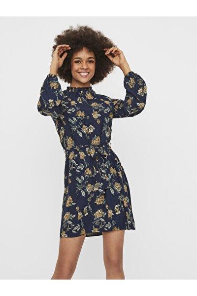 Dik Yaka Beli Kuşaklı Elbise 10237771 Vmboa