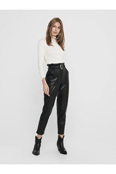 Kadın Siyah Paperbag Kemerli Deri Pantolon 15209319 ONLBRIONY-DIONNE