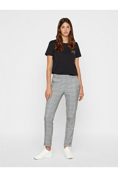 Kadın Siyah Kareli Kumaş Pantolon 10225281 VMMAYA