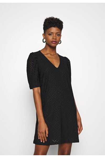 Kadın Siyah V Yaka Kısa Kollu Örme Elbise 10237864 VMESSENCE