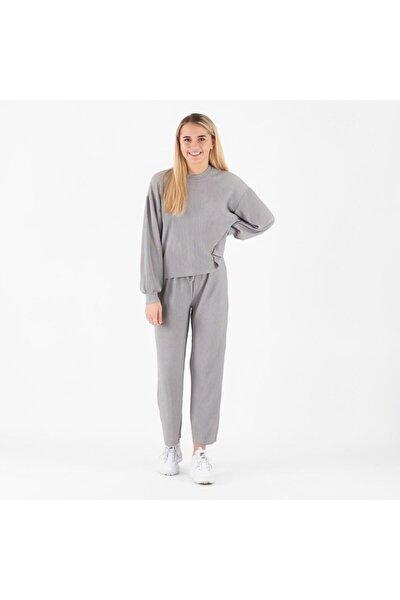 Kadın Gri Düz Paça Beli Bağlamalı Örme Pantolon 17104620 PCMAI