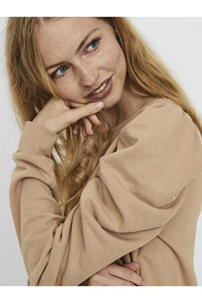 Kadın Bej Puf Kollu Sweatshirt 10241014 VMZOE