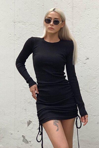 Kadın Siyah Yandan Büzgülü Elbise