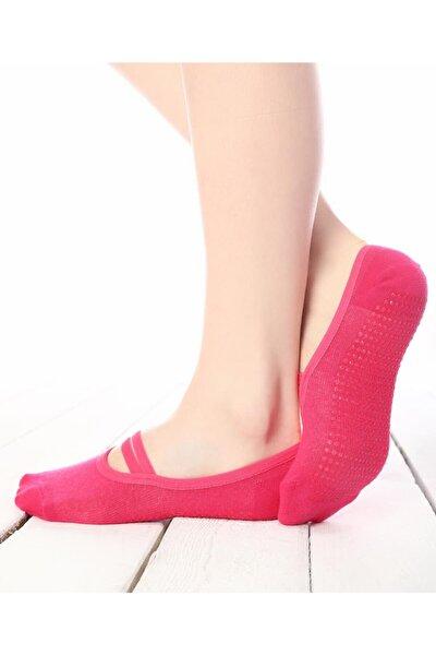 Yoga Pilates Ev Çorabı Tabanı Kaydırmaz Silikon Kaplı Babet Çorap (pembe/mor- 3lü Paket)