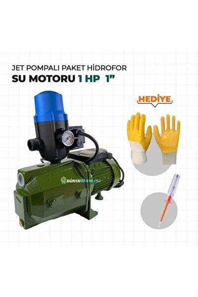 """Jet100 Jet Pompalı Hidrofor Su Motoru 1hp 1"""" Eldiven Ve Kontrolkalemi Hediyeli"""