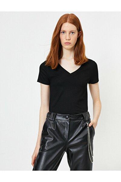 Kadın Siyah V Yaka T-shirt 0YAL18291IK