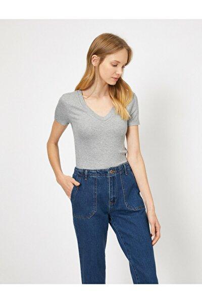 Kadın Gri T-Shirt 0YAL18291IK