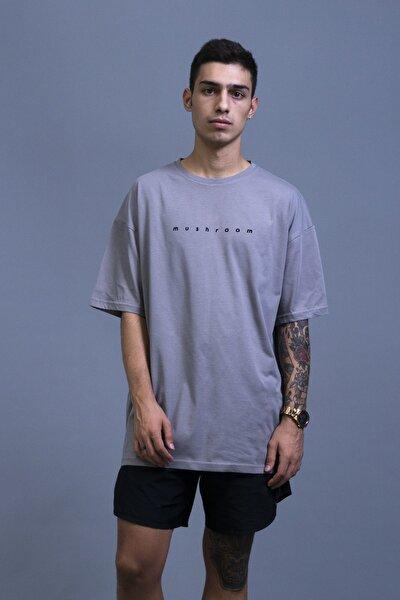 Açık Gri Nakışlı Oversize T-shirt
