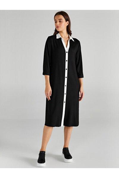 Kadın Siyah Kontrast Renkli Örme Gömlek Elbise 61254