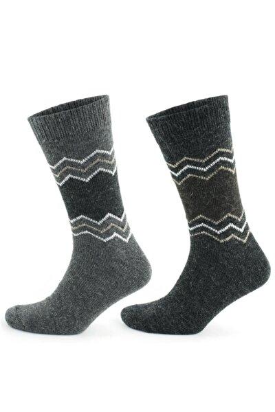 Doğal Alpaka Yünü Gri Antrasit Soft Yün Kışlık Çorap 2 Çift