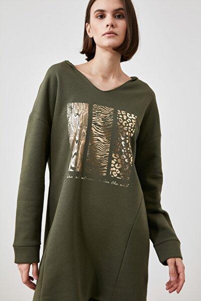 Haki Baskılı Örme Elbise TWOAW21EL2453
