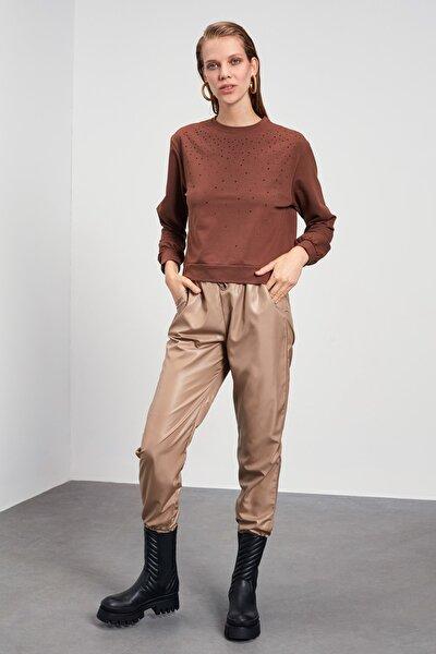 Kahverengi Taş Baskılı Örme Sweatshirt TWOAW21SW1135