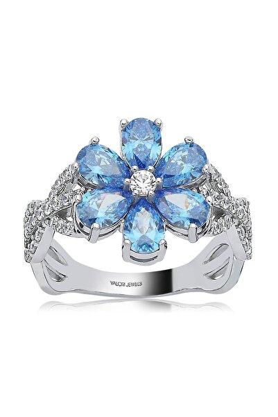 2 Karat Swarovski Zirkon Mavi Damla Taşlı, Gümüş Çiçek Yüzük