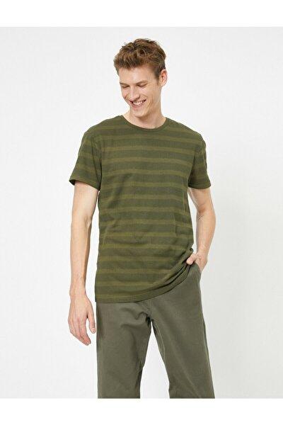 Erkek Yeşil Bisiklet Yaka T-Shirt 0YAM12329OK
