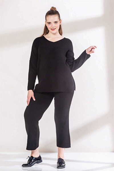Kadın Siyah Triko Yüksek Bel Geniş Paça Pantolon Rg1464