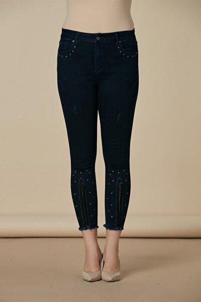 Kadın Lacivert Kot Yüksek Bel Dar Paça Pantolon Rg1407