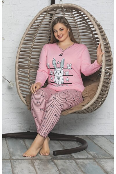 Kadın Pembe Uzun Kol Battal Beden Pijama Takımı