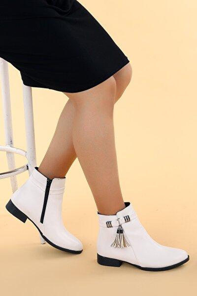 Kadın Beyaz Cilt Fermuarlı Bot Ayakkabı