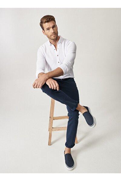 Erkek Lacivert 360 Derece Her Yöne Esneyen Rahat Slim Fit Pantolon