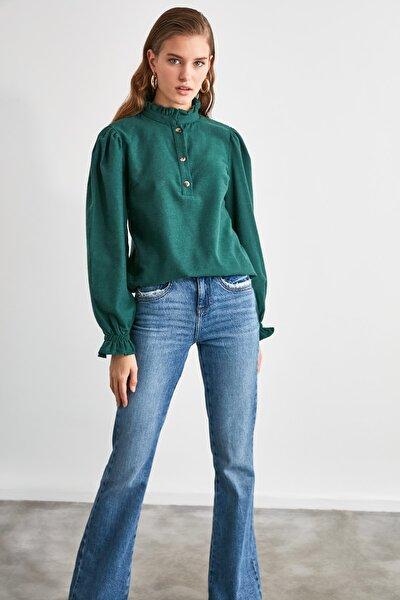 Zümrüt Yeşili Kareli Bluz TWOAW21BZ1176