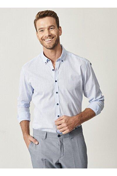 Erkek Mavi Düğmeli Yaka Tailored Slim Fit Casual Gömlek