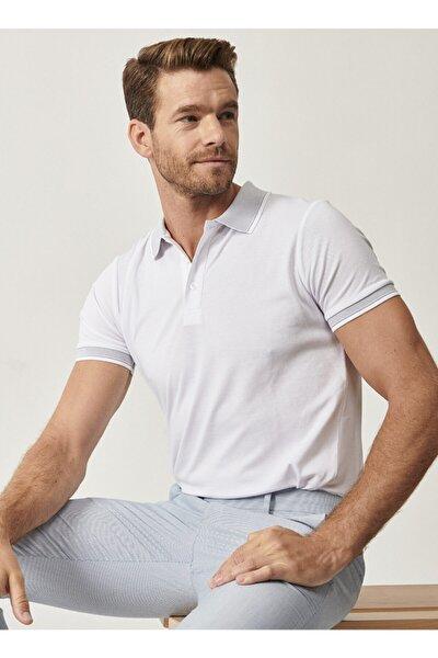 Erkek Beyaz Düğmeli Polo Yaka Cepsiz Slim Fit Dar Kesim Düz Tişört