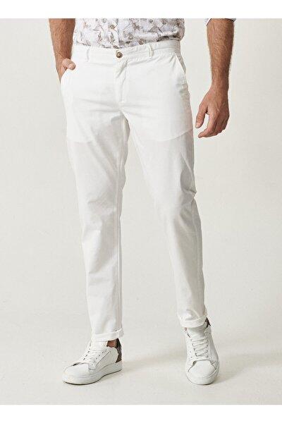 Erkek Beyaz Kanvas Slim Fit Chino Pantolon