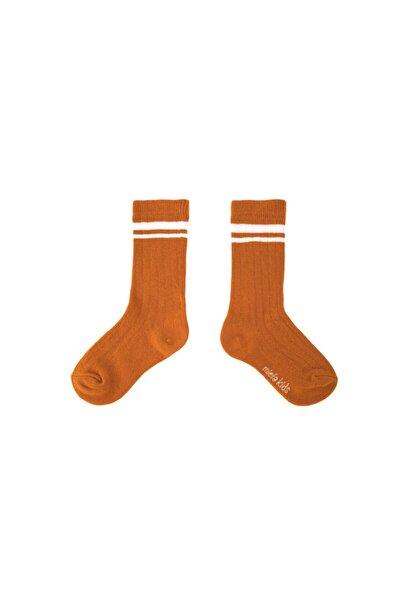 Fitilli Ara Boy Çorap Hardal Beyaz Çizgili
