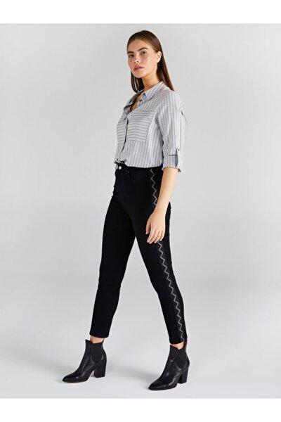 Kadın Siyah Zigzag Şeritli Jean Pantolon 61403