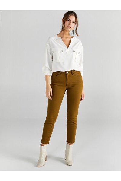 Kadın Zeytin Yeşili Slim Fit Coton Parça Boya Pantolon 61048
