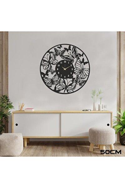 Siyah Kelebekli Dekoratif Duvar Saati C000189