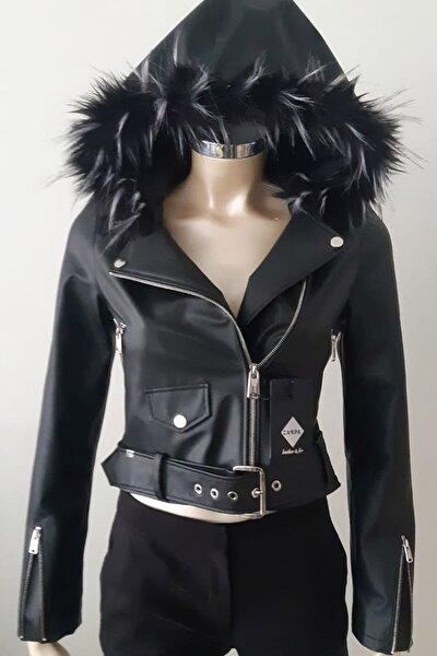 Kadın Kapüşonlu Suni Biker Deri Ceket