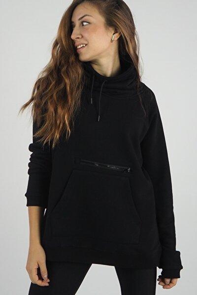 Kadın Siyah Kanguru Cep Fermuarlı Ayarlanabilir Yakalı Sweatshirt