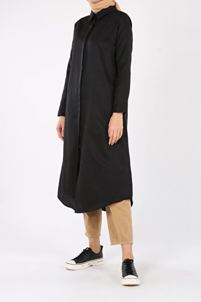 Kadın Siyah Pamuklu Uzun Gömlek