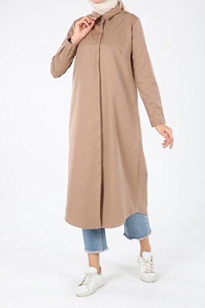 Kadın Kahverengi Toprak Pamuklu Uzun Gömlek