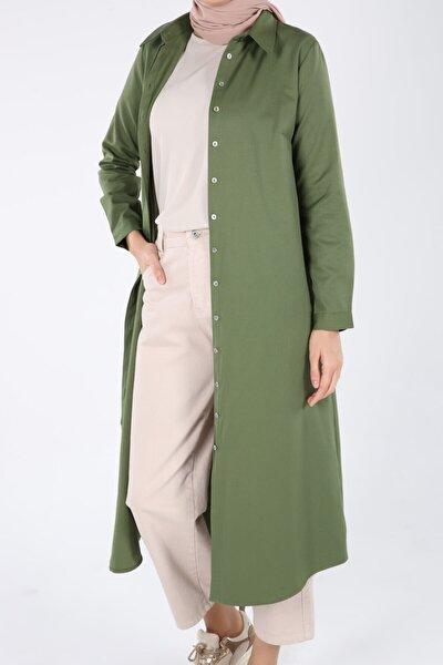Kadın Pastel Yeşil Pamuklu Uzun Tesettür Gömlek